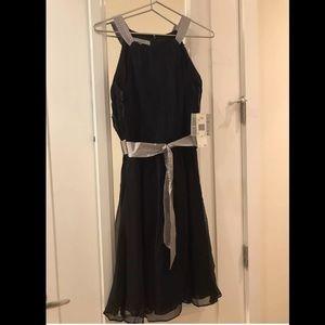 NWT 100% Silk Anne Klein dress Black&Silver Size 4